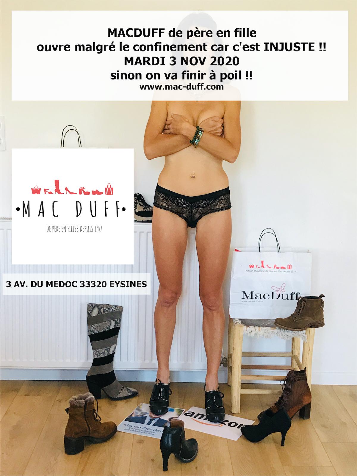 MACDUFF EYSINES OUVRE mardi 3 NOVEMBRE malgrè le CON-finement !!!